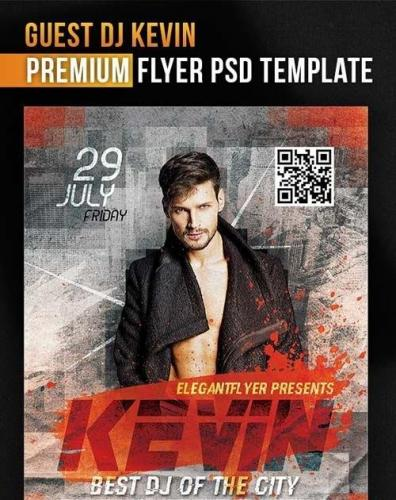 Guest Dj Kevin Flyer PSD Template + Facebook Cover