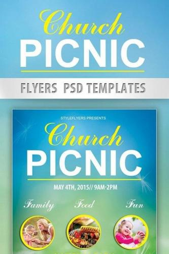 Church picnic Flyer PSD Template