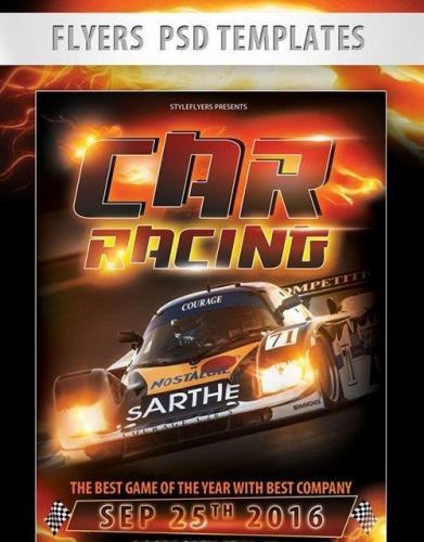 Car Racing Flyer PSD Template