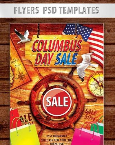Columbus Day Sale Flyer PSD Template