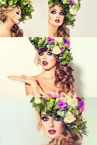 Spring Girl - Beautiful Model with Flower Wreath on Head