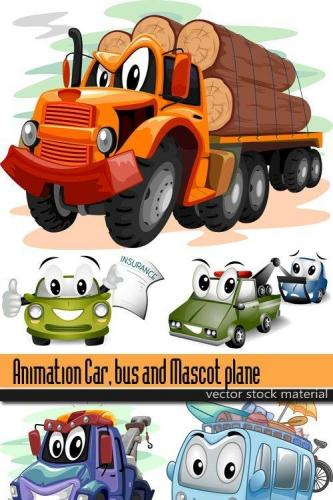 Animation Car, bus and Mascot plane