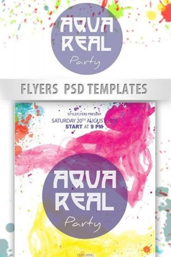 AquaReal Party Flyer PSD Template