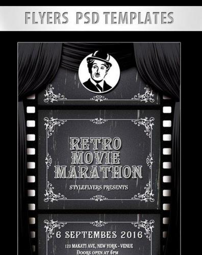 Retro Movie Marathon Flyer PSD Template