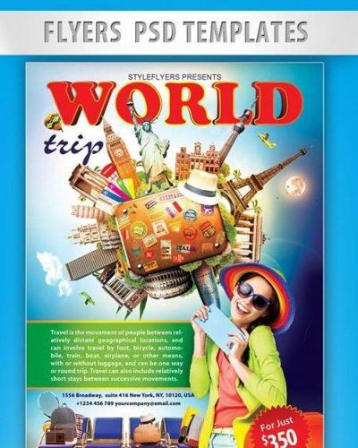 World Trip Flyer PSD Template