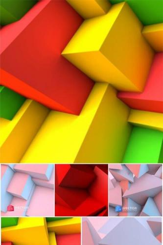 Abstract background with overlapping colorful cubes