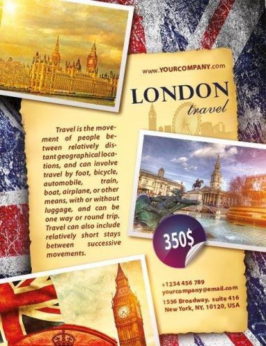 London travel Flyer PSD Template