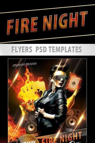 Fire Night Party Flyer PSD Template