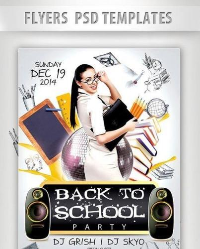 Back to School Party Flyer PSD Template + Facebook Cover