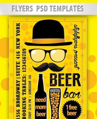 Beer Bar Flyer PSD Template