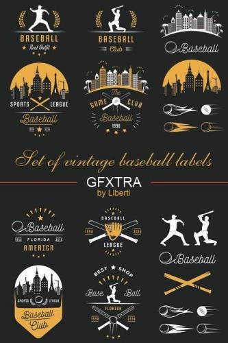 Set of vintage baseball labels