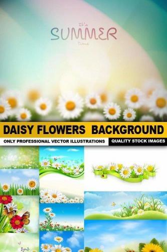 Daisy Flowers Background - 25 Vector
