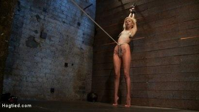 Kink.com- Tiny sexy blond suffers heavy weighted nipple clamps _amp; a crotch burner that keeps her on her toes!